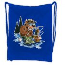 Blue Fishing Cartoon DRAW STRING SPORT PACK Tote Bag Backpack  #BSEC-CT