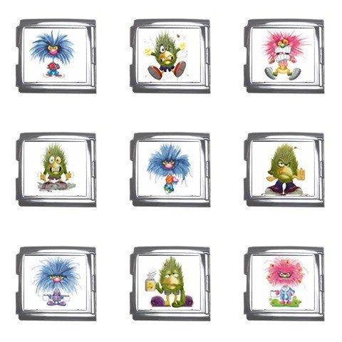 Funny Monsters Italian Charms Starter Bracelet Set of 9 pack MEGA Size 18mm 26865675