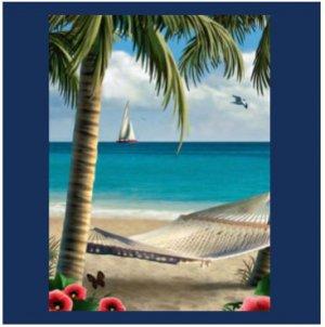 Relaxing Beach SCENE Bathroom Shower Curtain CT