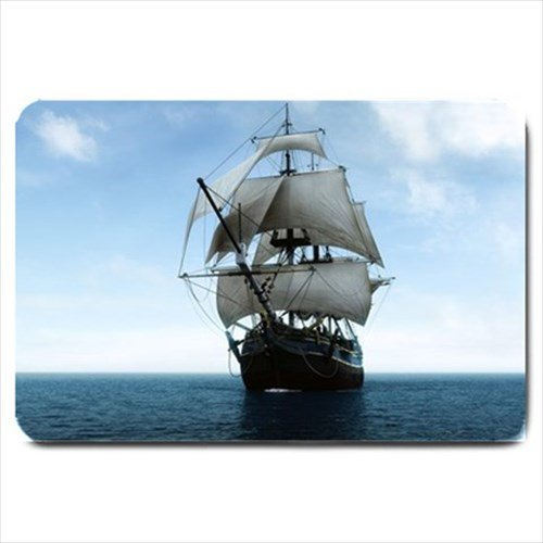 Sailing Pirate Ship Design Indoor Doormat Mats Rug for the Bedroom or Bathroom