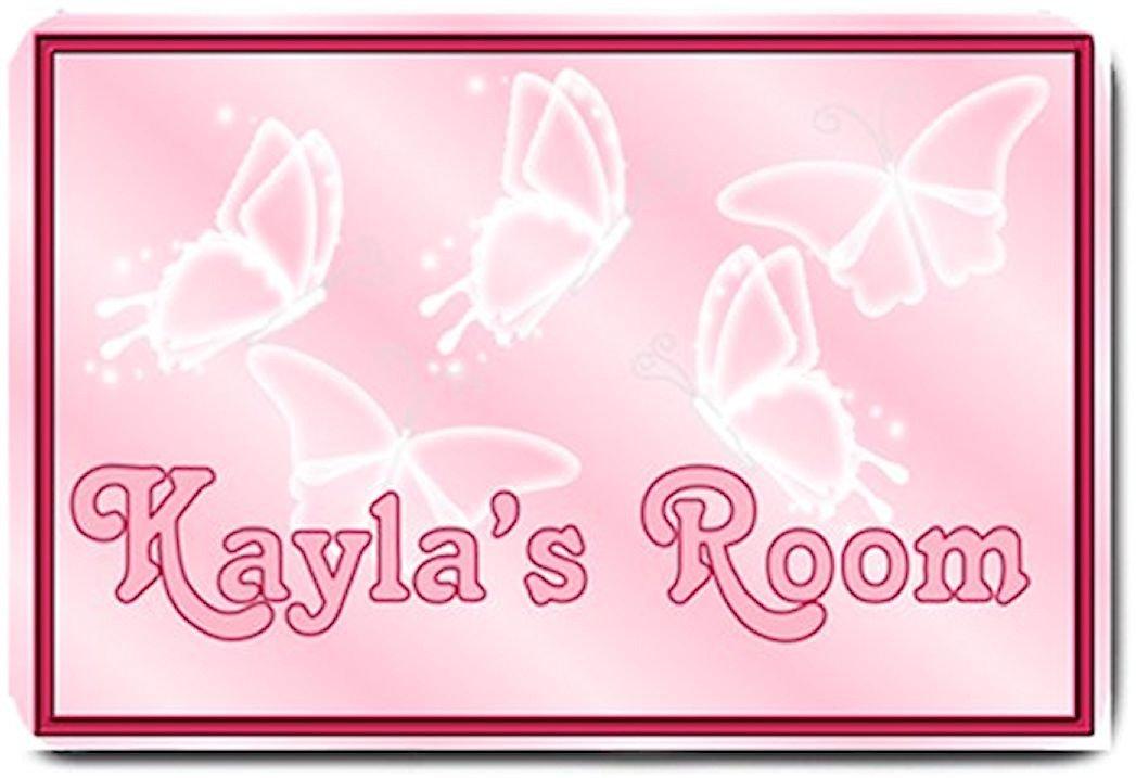 PERSONALIZED Pink Butterflies Design Indoor Room Doormat Mats Rug