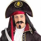 Pirate Tricorn Hat with Skull & Crossbones-Black
