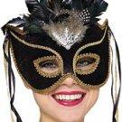 Venetian Black Velvet Face Mask with Feathers & Ribbons