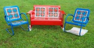 Vintage Metal Porch Glider Set