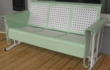 Restored Basketweave Metal Three Seat Vintage Old Porch Glider