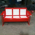 Vintage Metal Porch Glider Patio Swing Three-Seater Old Restored Powdercoated FREE SHIP RED
