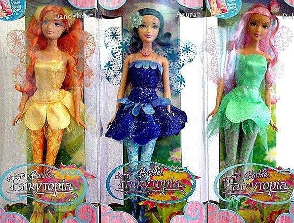Fairytopia Azura Dandelion & Dahlia Barbie Dolls Set of 3 NIB