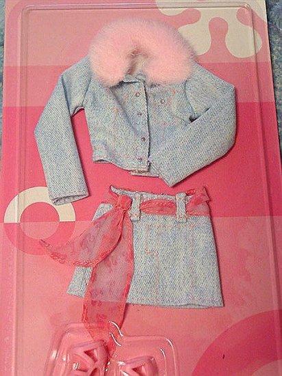 Pastel Blue Jean Jacket & Mini Skirt for Barbie NIP!!