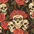 The Alexander Henry Fabrics Collections - SKULLS and Roses - 1 yard