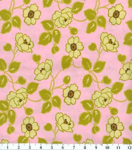 Stone Hill Collection -Tutti Frutti - Outlined Flowers On Lt Pink - Pattern #1327998 - 1 yard