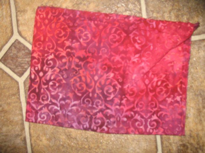 "Rose/Wine Color Batiks style Print - 42"" x 15"" - Unknown Artist"