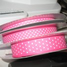 "3/8"" - Swiss Dots - Grosgrain Ribbon - Hot Pink With White Dots - 5 yards"