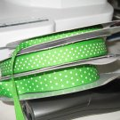 """7/8"""" - Swiss Dots - Grosgrain Ribbon - Apple Green With White Dots - 5 yards"""