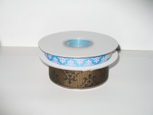 """3/8"""" and 7/8"""" Damask Ribbon for Sale - Printed Grosgrain Ribbon"""