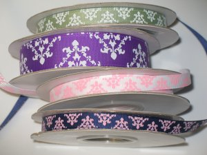 """3/8"""" & 7/8"""" Grosgrain Ribbon Grab Bag - Entire Lot in Picture  - Spring Moss/Purple/White/Ink Blue"""