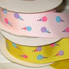 "1-1/2"" Lollipop Grosgrain Ribbon- Daffodil / Light Pin - Entire Rolls"