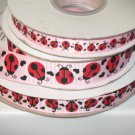 "5/8"" - Lady Bug with Black Hearts - Grosgrain Ribbon - Pearl Pink - 5 yards"