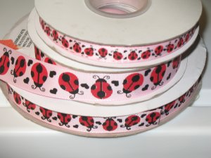 "7/8"" - Lady Bugs with Black Hearts - Grosgrain Ribbon - Pearl Pink - 5 yards"