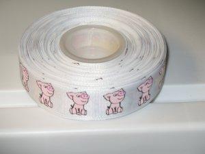 "7/8"" - Playful Pigs - Grosgrain Ribbon - White - 5 yards"
