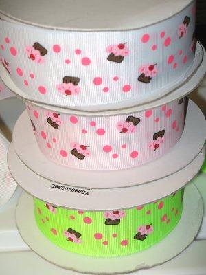 "1-1/2"" & 7/8"" Grab Bag of Cupcakes - Grosgrain Ribbon - White, Powder Pink, Key Lime  - Entire Rolls"