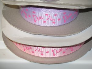 """7/8"""" - Diva with Crowns - Grosgrain Ribbon - Pearl Pink - 5 yards"""