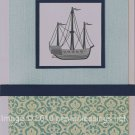 Blue ship card - set of 6