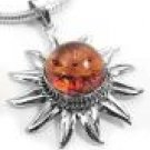 Sterling Silver Baltic Amber Sun Pendant Necklace 18""