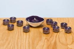 Purple And Silver Tealight Holder With 12 Tealights