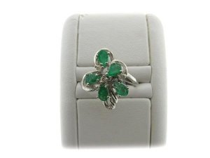 14 kt. White Gold, Emerald and Diamond Ring