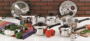 """17pc Surgical Stainless Steel """"Waterless"""" 9 Element  Cookware Set"""