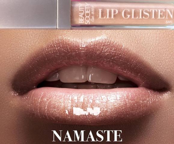 Beauty Society Lip Glisten - Namaste gorgeous tube with LED applicator and mirror
