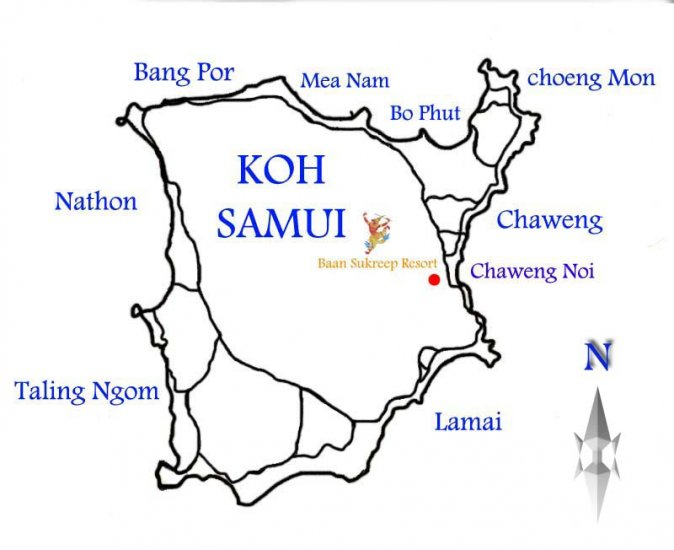 Map to Baan Sukreep resort. Prices For Taxi