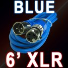 Blue XLR Mic Cable 6 Ft - Male To Female 3 Pin - Colored Cord