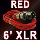 Red XLR Mic Cable 6 Ft - Male To Female 3 Pin - Colored Cord
