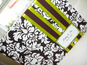 Custom Wedding Guest Book You Pick Fabric and Ribbon