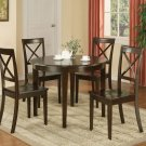 "Boston Contemporary Dinette Kitchen Set Table 42"" Round w/4 Chairs in Cappuccino. SKU#: B5-CAP-W"