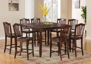 7-Pc Chelsea Counter Height Table with 6 Wood Seat Stools in Mahogany SKU#: CH7-MAH-W