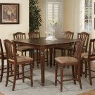 9-Pc Chelsea Counter Height Table with 8 Microfiber Upholstered Chairs in Mahogany SKU#: CH9-MAH-C