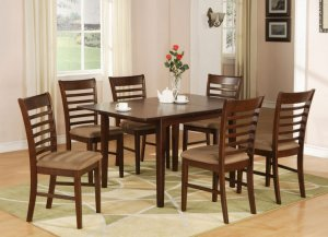 "Milan Dinette Kitchen Set, Table 36""x 54"" with 6 Chairs in Mahogany Finish SKU# MILA7-MAH-C"