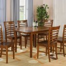 "Milan Dinette Kitchen Set, Table 36""x 54"" with 6 Chairs in Saddle Brown Finish SKU# MILA7-SBR-W"