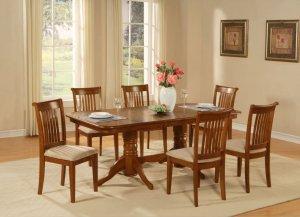 7pc Napoleon Dining Set, Table + 6 Portland Chairs cherry brown SKU# NAPO7-SBR-C