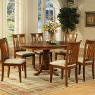 7-PC Portland Oval Dining Table with 6 Cushioned Chairs in Saddle Brown Finish. SKU#: P7-SBR-C
