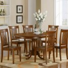 7-PC Portland Oval Dining Table with 6 Wood Chairs in Saddle Brown Finish. SKU#: P7-SBR-W