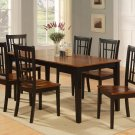 7-PC Nicoli Dining Set, Table with 6 Wood Seat Chairs in Black and Cherry. SKU: N7-BLK-W
