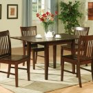 5-PC Norfolk kitchen set, table with 4 cushioned or wood seat chairs in mahogany. SKU#: NF5-MAH-W