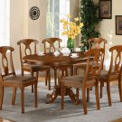 7-PC Portna Dining Table with 6 Cushioned Chairs in Saddle Brown Finish. SKU#: PNA7-SBR-C