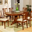 7-PC Avon Oval Dining Table with 6 Microfiber Upholstered Chairs in Saddle Brown. SKU# AVON7-SBR-C