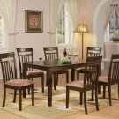 Capri solid top table with 6 wood seat or upholstery chairs in cappuccino SKU#: C7S-CAP