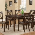 7-PC Cabos Dinette Dining Set Table with 6 wood seat chairs in cappuccino. SKU: CB7S-CAP-W