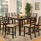 9-PC Fairwinds Counter Height Table w/8 Microfiber Upholstered Chairs in Cappuccino. SKU#: F9-CAP-C
